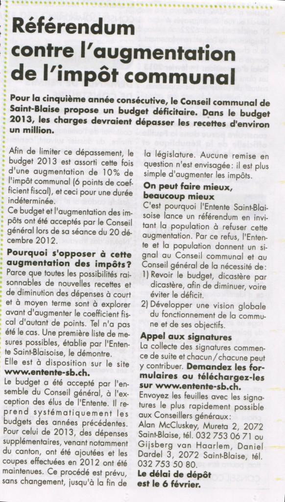 Article dans le Bulcom (11 janvier)