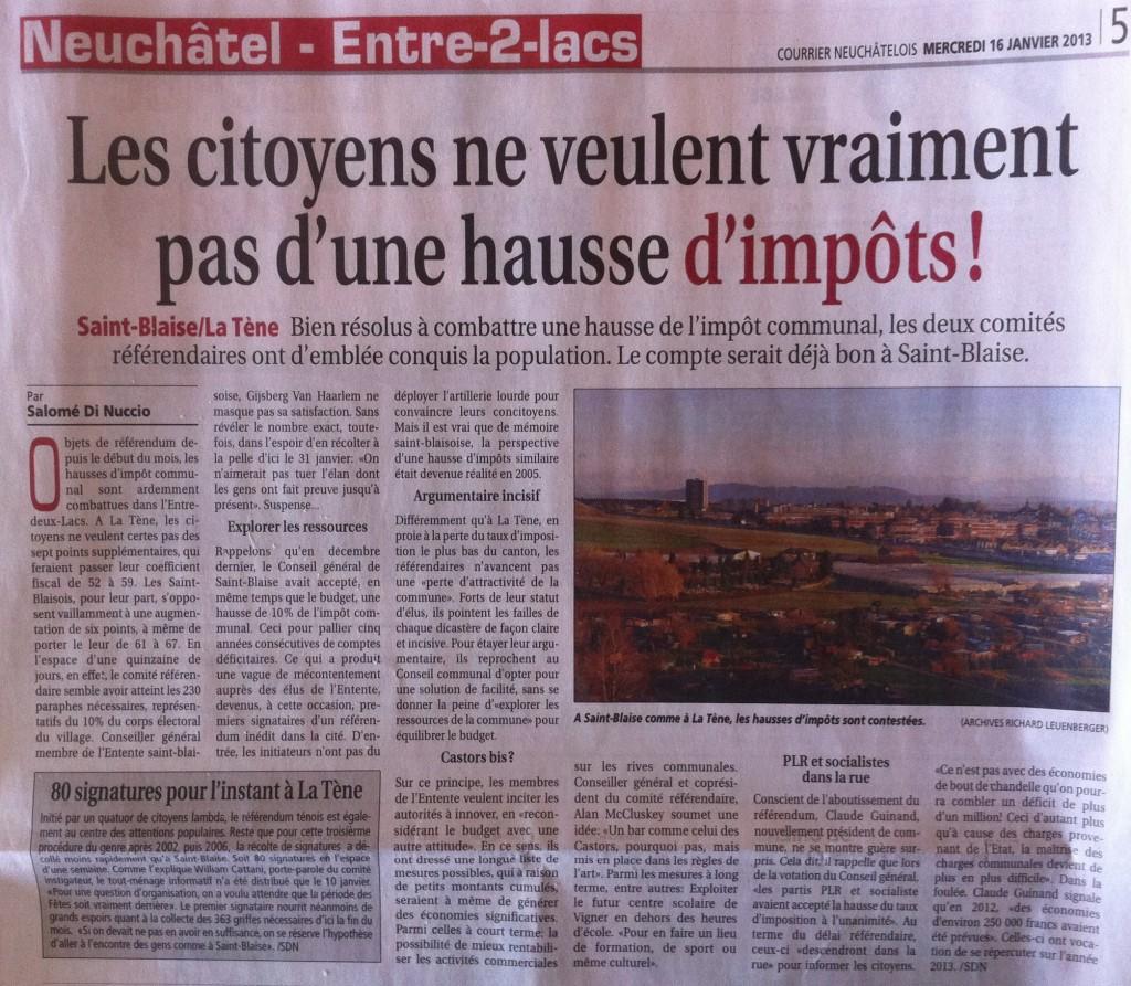 Article dans le Courrier Neuchâtelois
