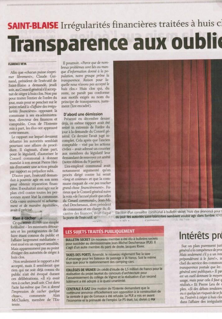L'Express parle du huis clos au Conseil général